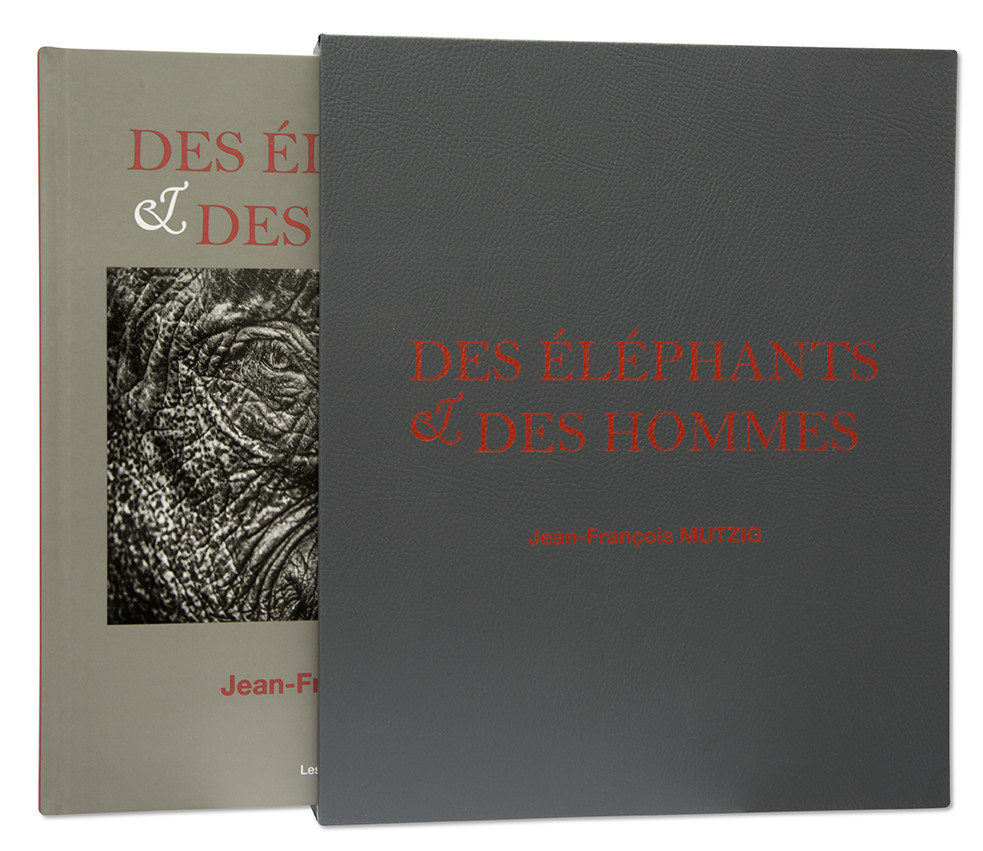 Des éléphants & des hommes, Jean-François Mutzig, coffret + livre, Atelier façonnage d'exception