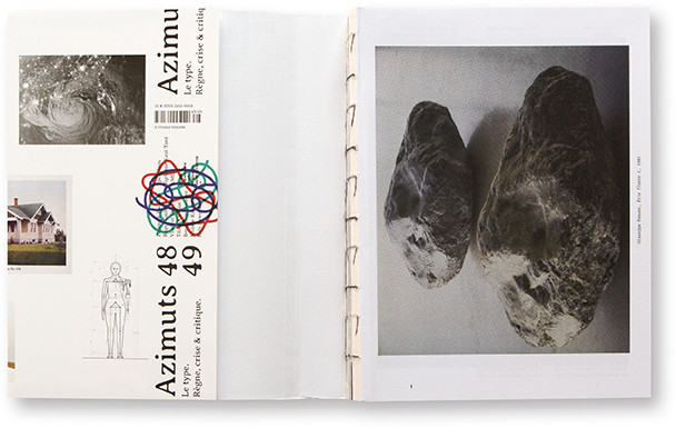 Azimuts 48/49, Le type. Règne, crise & critique, École Supérieur d'art et design de Saint-Étienne, Cité du degn, intérieur pag 1 + jaquette + couture apparente