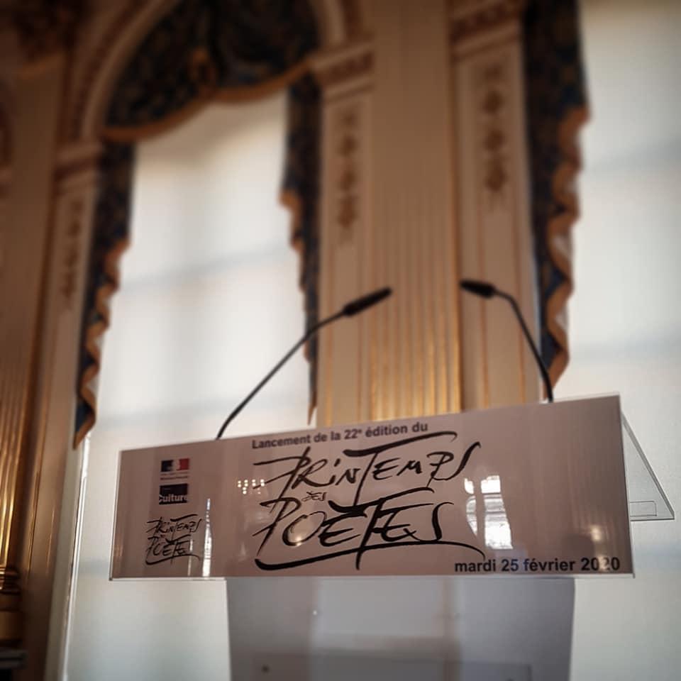 Lancement du Printemps des Poètes 2020 au Ministère de la culture, Paris